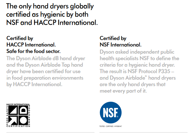 Dyson Airblade Hand Dryers Certified Hygienic NSF HACCP