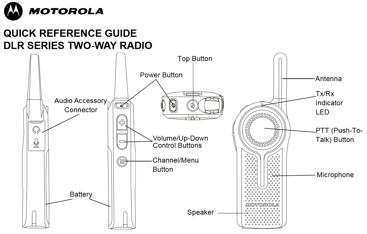 Motorola DLR1020 Walkie Talkie Controls